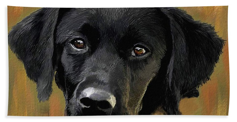 Lab Bath Sheet featuring the painting Black Lab by Mia Hansen