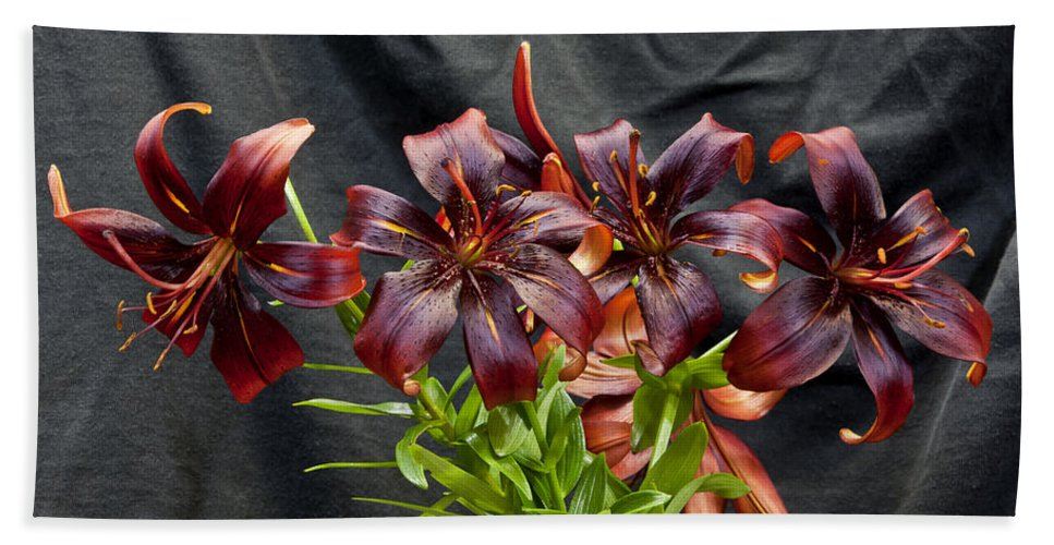 Flowers Bath Sheet featuring the photograph Black Lilies by Stan Kwong