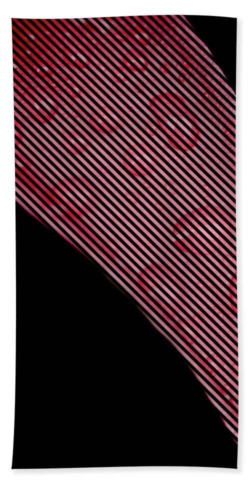 Illusion Hand Towel featuring the photograph Black Lines On Red Flower by Crystal Wightman