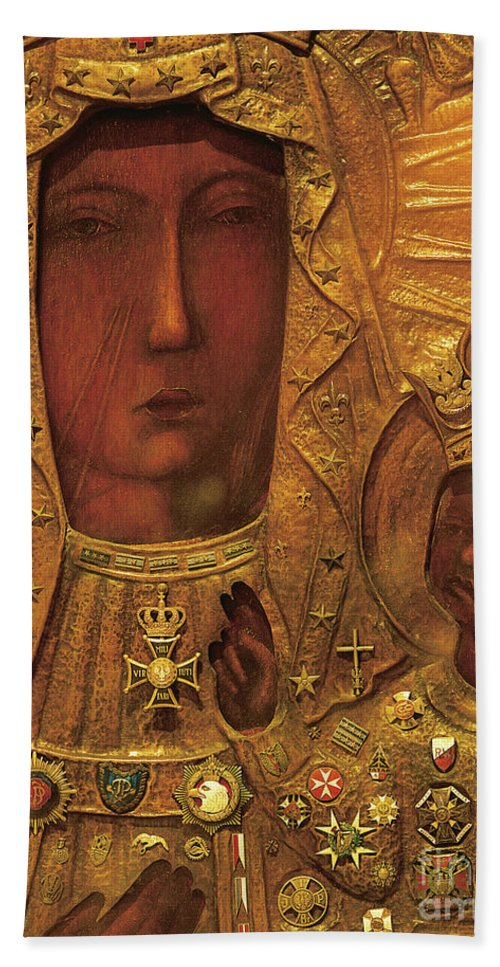 Black Madonna Hand Towel featuring the painting Black Madonna by Polish School