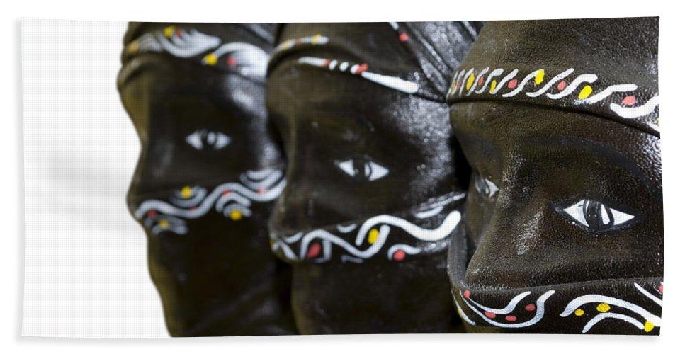 Black Bath Sheet featuring the photograph Black Masks by Svetlana Sewell