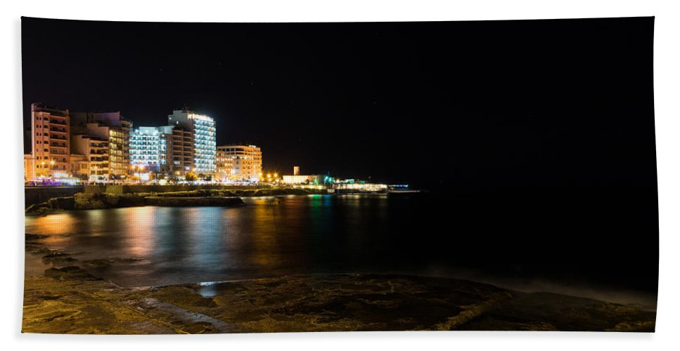 Georgia Mizuleva Bath Sheet featuring the photograph Black Night Bright Lights - Sliema Famous Waterfront by Georgia Mizuleva