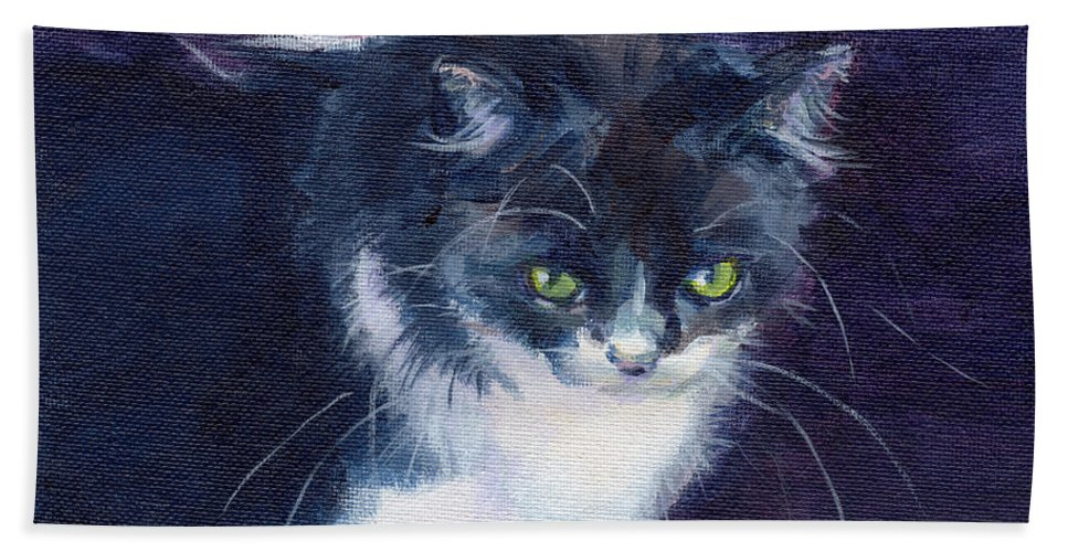 Feline Bath Sheet featuring the painting Black On Blacl by Kimberly Santini