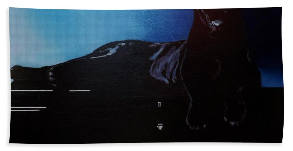 Wild Animal Painting Bath Sheet featuring the painting Black Panther And His Piano by Manuel Sanchez