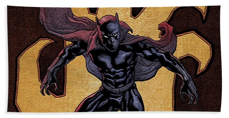 Black Panther Bath Towel featuring the digital art Black Panther by Zia Low