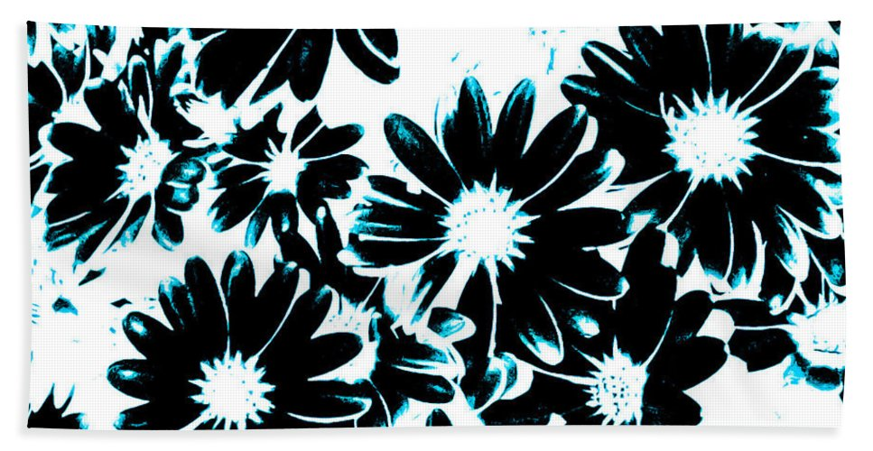 Teal Hand Towel featuring the photograph Black Petals With Sprinkles Of Teal Turquoise by Heather Joyce Morrill
