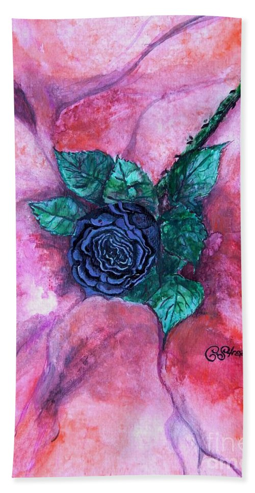 Black Rose Hand Towel featuring the painting Black Rose by Caroline Street