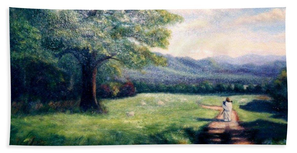 Christian Bath Towel featuring the painting Black Sheep by Gail Kirtz