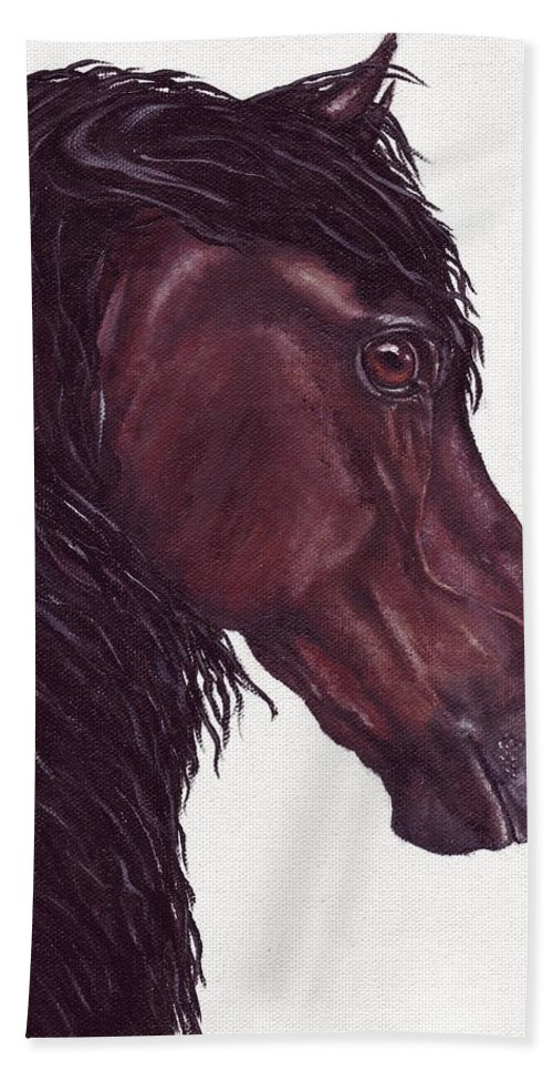 Horse Hand Towel featuring the painting Black Sterling I by Kristen Wesch