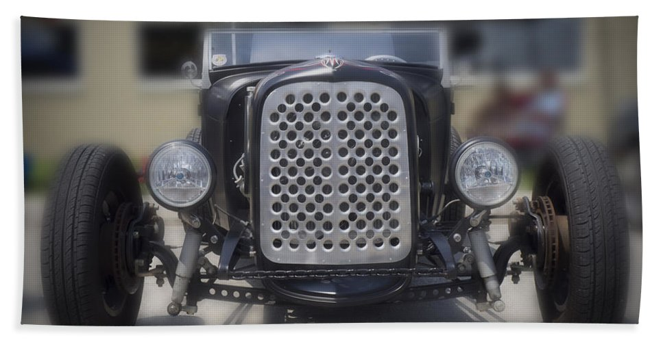 Hot Rod Hand Towel featuring the photograph Black T-bucket by Michael Colgate