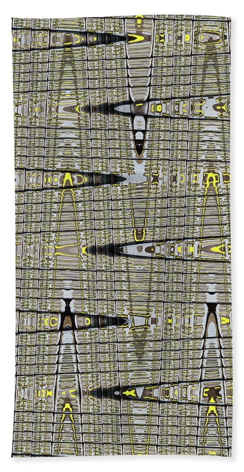 Black Walnut Drawing With Yellow Abstract Bath Towel featuring the digital art Black Walnut Drawing With Yellow Abstract by Tom Janca