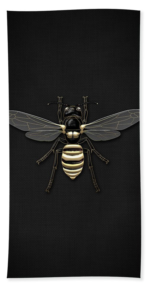 Beasts Creatures And Critters By Serge Averbukh Hand Towel featuring the photograph Black Wasp with Gold Accents on Black by Serge Averbukh