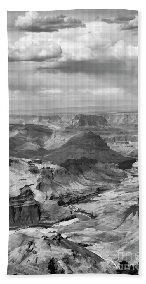 Grand Canyon Hand Towel featuring the photograph Black White Filter Grand Canyon by Chuck Kuhn