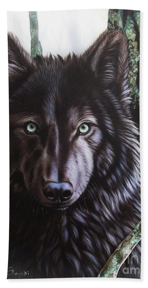 Wolves Hand Towel featuring the painting Black Wolf by Sandi Baker