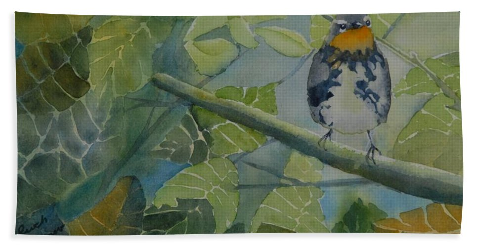 Bird Hand Towel featuring the painting Blackburnian Warbler I by Ruth Kamenev