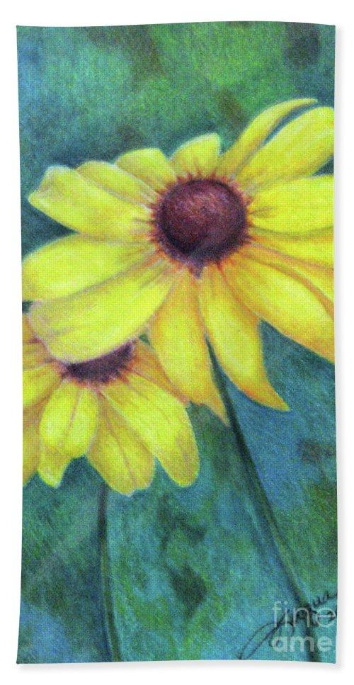 Fuqua - Artwork Bath Sheet featuring the drawing Blackeyed Susan by Beverly Fuqua