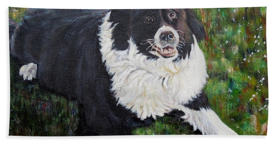 Dog Hand Towel featuring the painting Blackie by Marilyn McNish