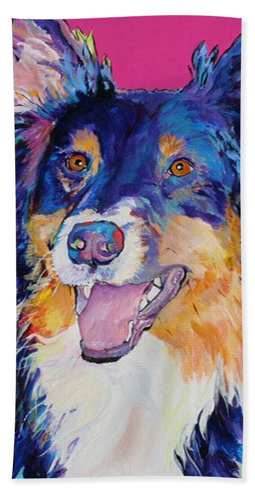 Dog Hand Towel featuring the painting Blackjack by Pat Saunders-White