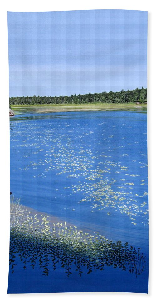 Landscapes Bath Sheet featuring the painting Blackstone Bog by Kenneth M Kirsch