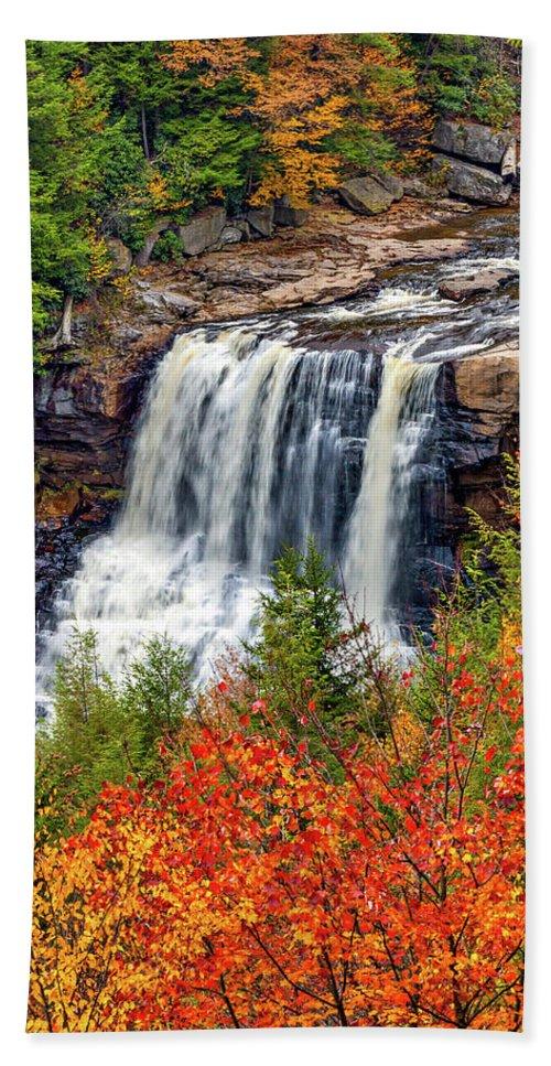West Virginia Bath Sheet featuring the photograph Blackwater Falls by Steve Harrington