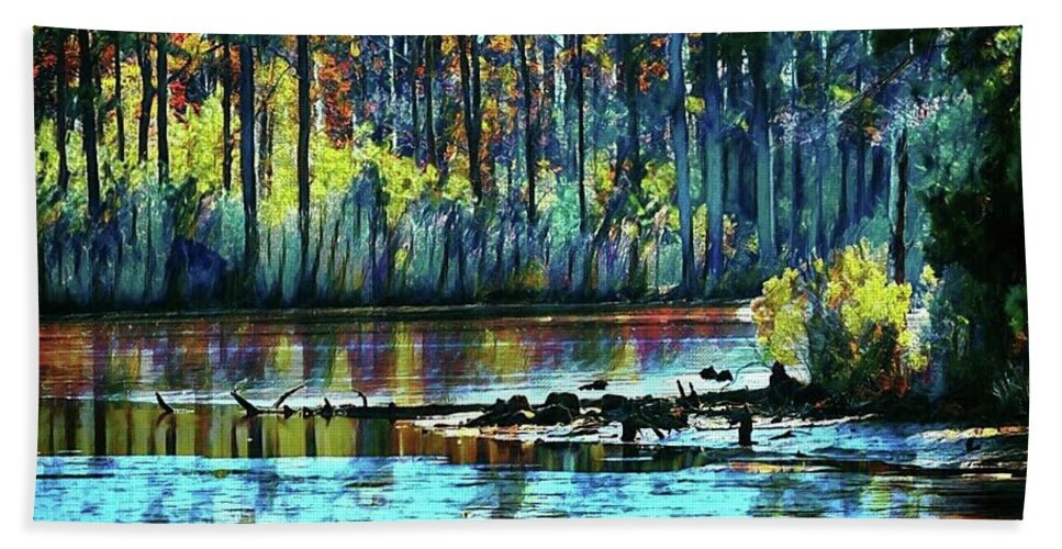 Impressionism Hand Towel featuring the photograph Blackwater Refuge by Shelley Smith