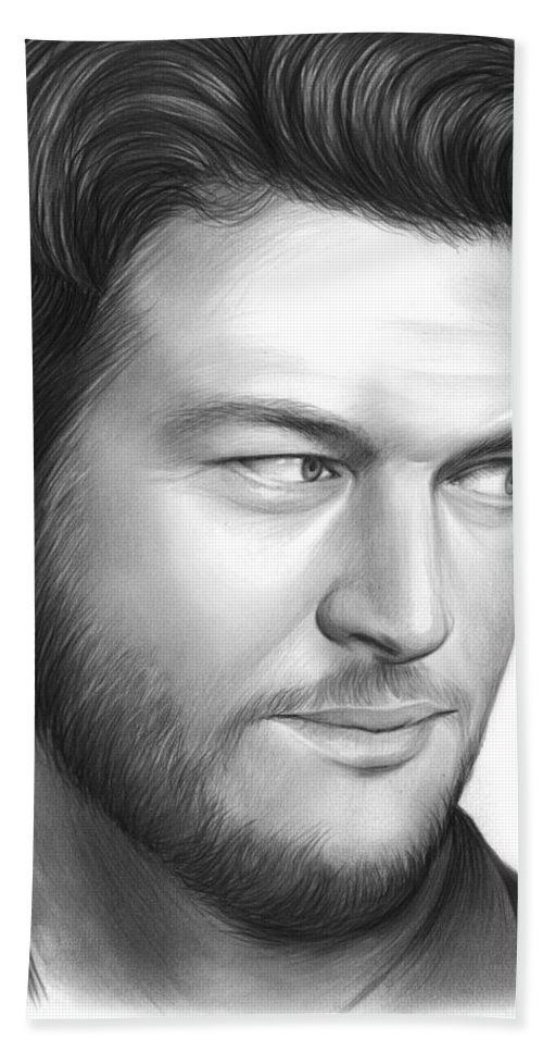 Celebrity Bath Towel featuring the drawing Blake Shelton by Greg Joens