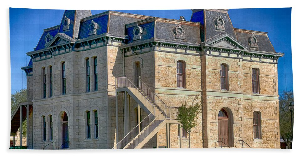 Hdr Hand Towel featuring the photograph Blanco County Courthouse by Gary Richards