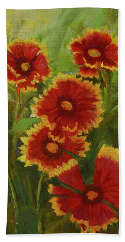 Blanket Flowers Hand Towel featuring the painting Blanket Flowers by Barbara Wolf