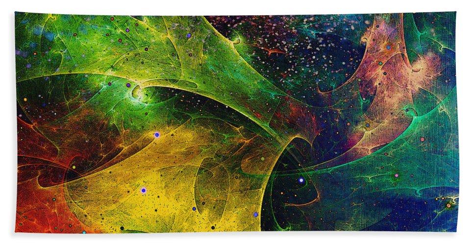 Abstract Bath Sheet featuring the digital art Blanket Of Stars by Klara Acel