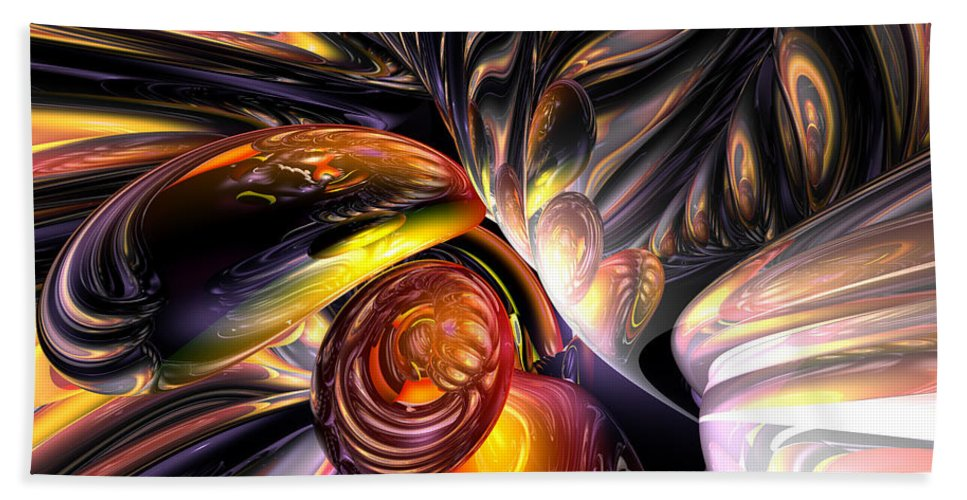 3d Bath Towel featuring the digital art Blaze Abstract by Alexander Butler