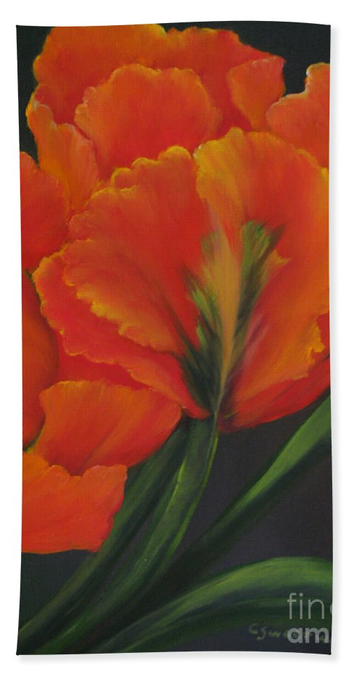 Tulips Hand Towel featuring the painting Blaze Of Glory by Carol Sweetwood