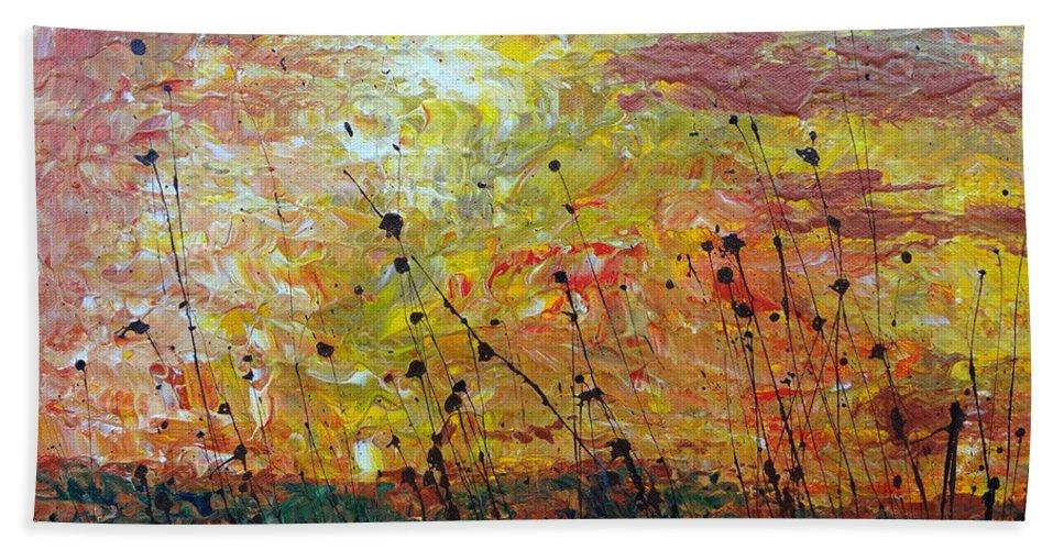 Blazing Prairie Bath Sheet featuring the painting Blazing Prairie by Jacqueline Athmann