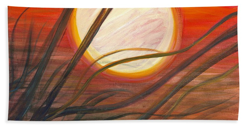 Sunrise Hand Towel featuring the painting Blazing Sun And Wind-blown Grasses by Nadine Rippelmeyer