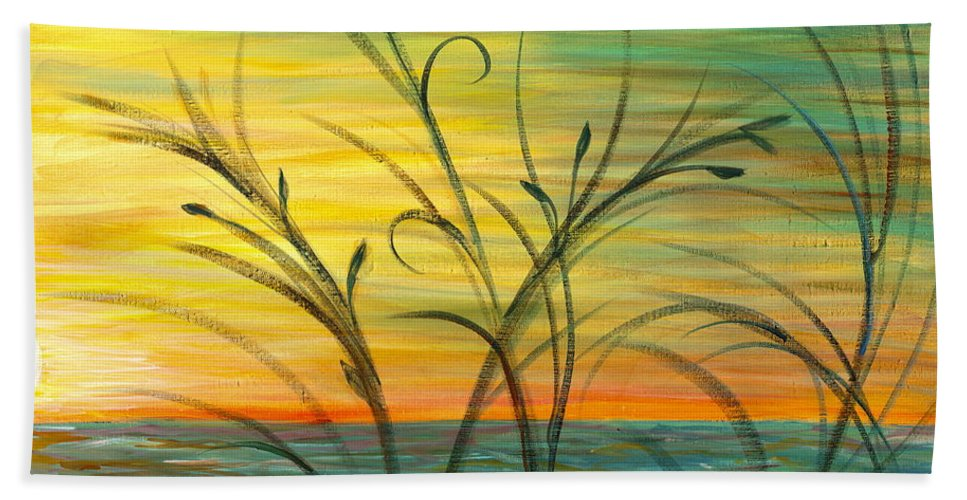 Blue Bath Towel featuring the painting Blazing Sunrise And Grasses In Blue by Nadine Rippelmeyer