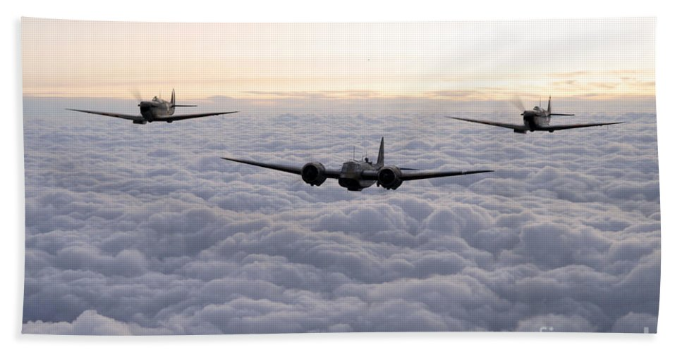 Bristol Bath Towel featuring the digital art Blenheim And The Fighters by J Biggadike