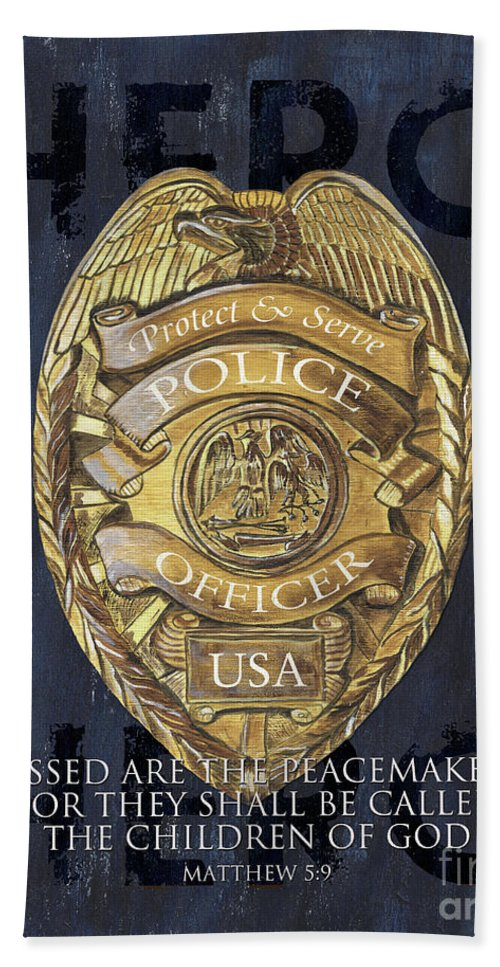Police Hand Towel featuring the painting Blessed are the Peacemakers by Debbie DeWitt
