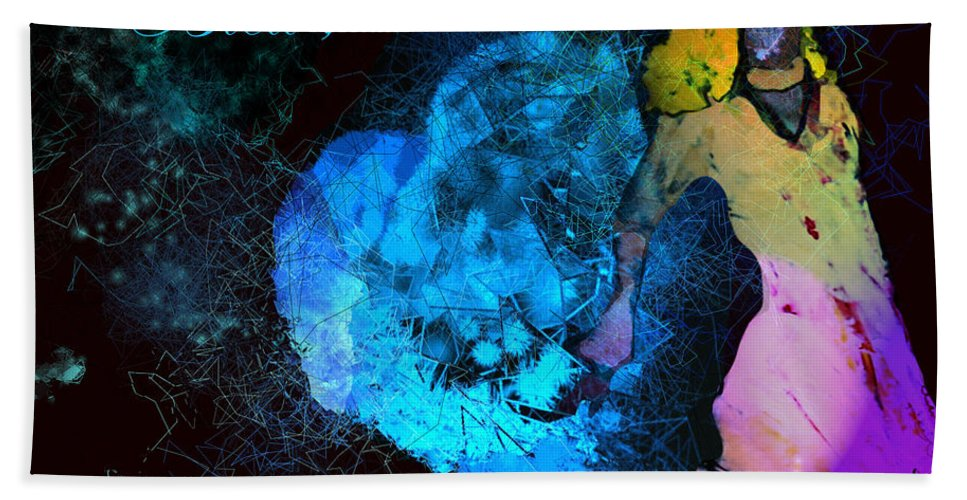 Love Hand Towel featuring the painting Bleu Bleu L Amour Est Bleu by Miki De Goodaboom