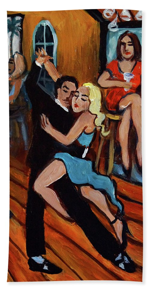 Tango Hand Towel featuring the painting Bleu Tango by Valerie Vescovi