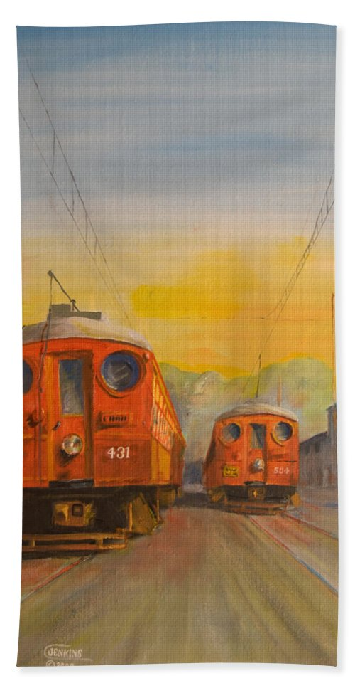 Streetcars Hand Towel featuring the painting Blimps by Christopher Jenkins
