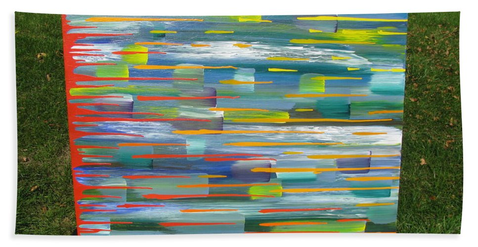 Movement Bath Sheet featuring the painting Blindsided by Jacqueline Athmann