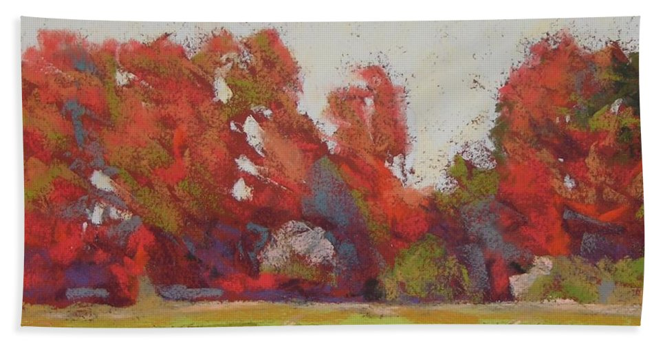 Landscape Bath Towel featuring the painting Bliss Evening by Mary McInnis