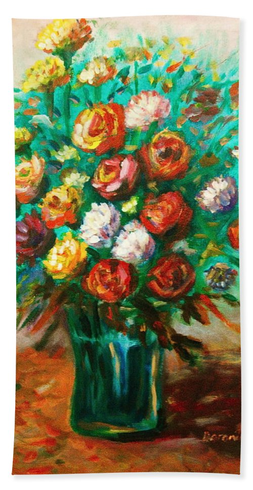 Blissful Hand Towel featuring the painting Blissful Blooms by Matthew Doronila