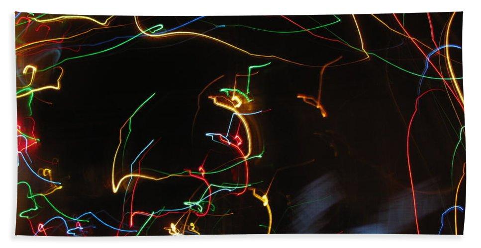 Dancing Lights Bath Sheet featuring the photograph Blizzard Of Colorful Lights. Dancing Lights Series by Ausra Huntington nee Paulauskaite