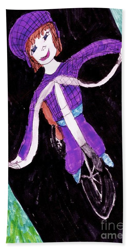 Dressed In A Purple Outfit Smiling Riding A Bike Hand Towel featuring the mixed media Biking Holiday by Elinor Helen Rakowski