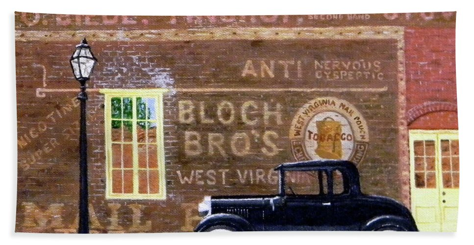 Model A Bath Sheet featuring the painting Bloch's Wall by Duwayne Williams