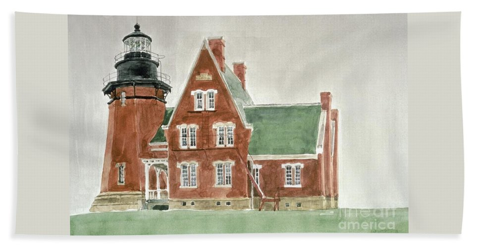Lighthouse Hand Towel featuring the painting Block Island Southeast Lighthouse by Robert Bowden
