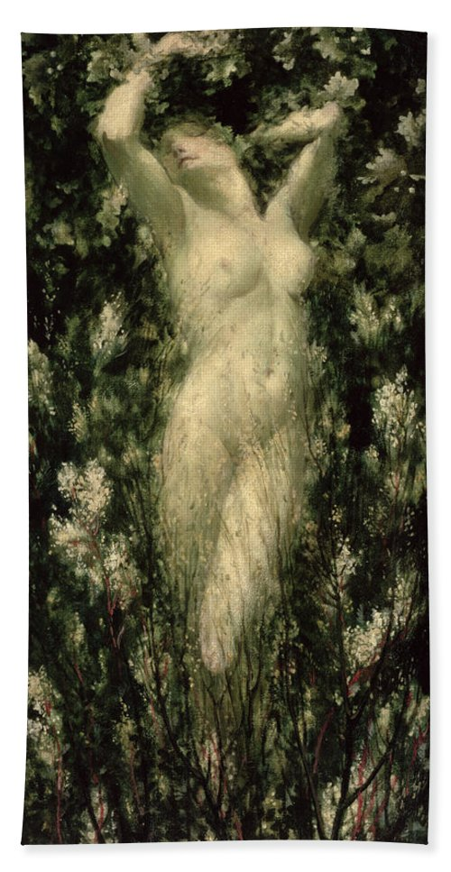 Female Hand Towel featuring the painting Blodeuwedd by Christopher Williams