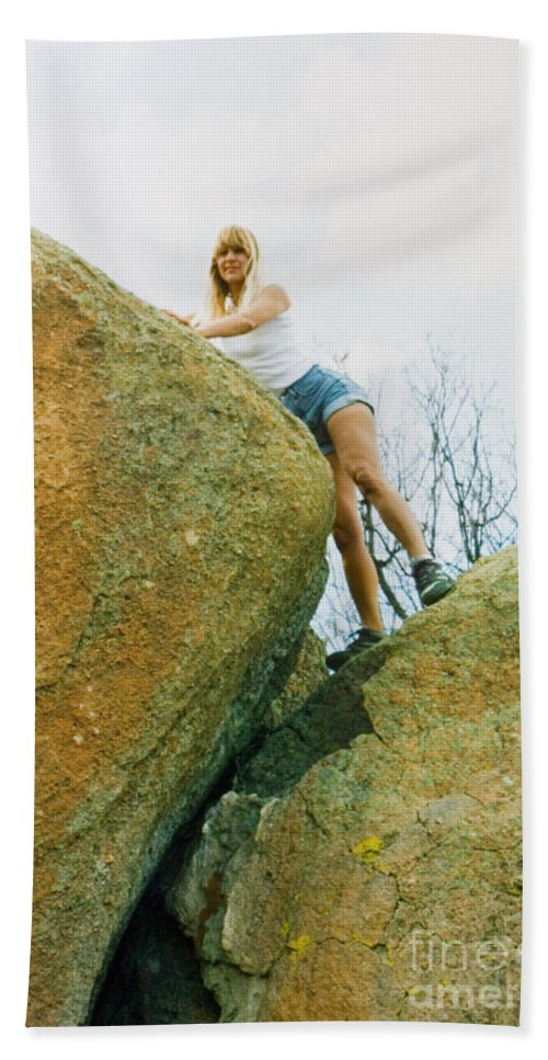 Blond Hand Towel featuring the photograph Blond Rock Climber by Steve Krull
