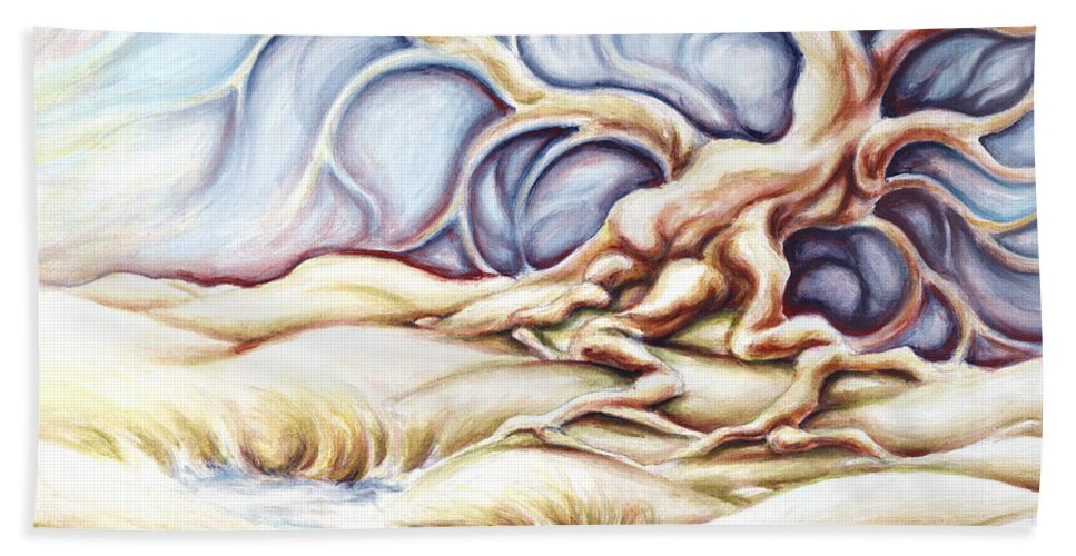 Acrylic Painting Bath Towel featuring the painting Blonde And Blue by Jennifer McDuffie