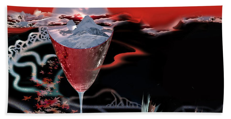 Blood Hand Towel featuring the digital art Blood Red From Pure White by Jennifer Kathleen Phillips